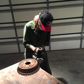 Sanding the Bird's brake drum.